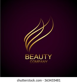 Abstract gold beauty industry and fashion logo,Identity for beauty, ecological cosmetics business,companies and clinics