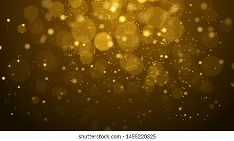 Abstract gold bokeh with black background - Vector