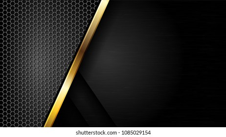 The abstract gold border and hexagon mesh luxury modern concept/ background vector illustration.