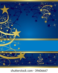 abstract gold christmas tree on blue background
