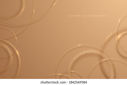 Abstract gold circle lines background
