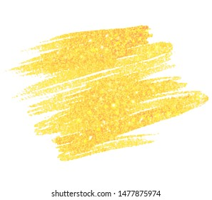 Abstract gold color paper texture glitter vector stroke tag. Watercolor hand drawn smear art design, card, wallpaper, print, banner
