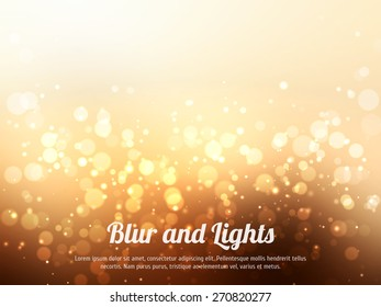Abstract gold colorful bokeh background. Festive background with defocused lights. Magical background with colorful bokeh.