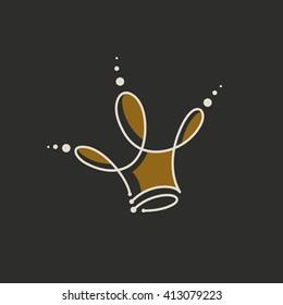 Abstract gold crown logo. Royal premium symbol. Vector illustration.