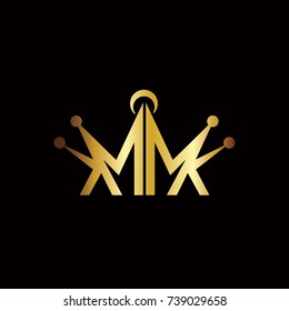 Abstract Gold Crown MK Initials Logo