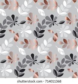 abstract gold fall leaves pattern vector illustration. tender elegant celebration style decorative seamless pattern. background design