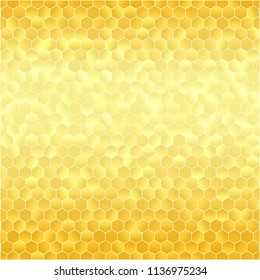 Abstract Gold Geometric Background with Triangles. Vector Bright Yellow Illustration with Gradient.