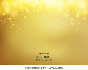 Abstract of gold gradient background with golden glitters decoration, vector eps10