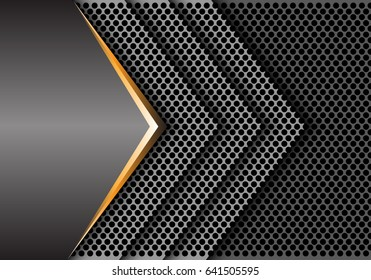 Abstract gold gray metal circle mesh arrow overlap design modern luxury background texture vector illustration.