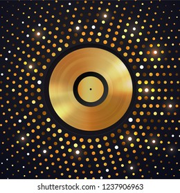 Abstract gold halftone circle background with Golden vinyl disc on . Music disco party shiny luxury banner.