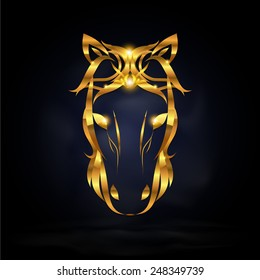 Abstract gold horse symbol design with dark background