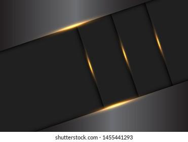 Abstract gold light effect on grey metallic overlap frame design modern luxury futuristic background vector illustration.