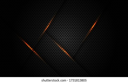 Abstract gold light line on dark grey black metallic hexagon mesh pattern design modern luxury futuristic technology background vector illustration.