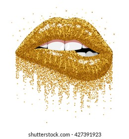 Abstract gold lips. Open Mouth with color paint flow. Glitter glossy Lips Biting. Vector illustration