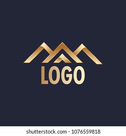 Abstract Gold Logo -  Means: reached the summit, stare at the summit...