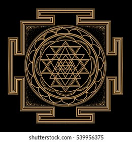 abstract gold monochrome abstract symbols of sacred geometry, intertwine shape, triangle line on black background.