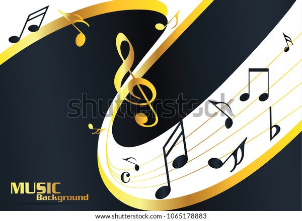 Abstract Gold Music Notes On Line Stock Vector Royalty Free