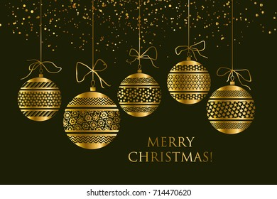 abstract gold new year baubles vector illustration. golden elegant style decorative design for celebration invitation, greeting card, header, banner