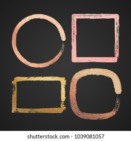 Abstract gold and pink metal glossy vector border paint frames isolated. Texture glitter frame round and square sparkle shimmer illustration