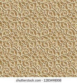 Abstract gold seamless pattern, vintage golden background, vector ornamental brocade texture