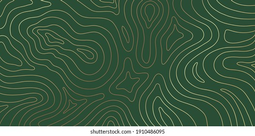 Abstract gold topographic lines on a green background. Golden line waves topographical design. Geographic mountain contours Vector Illustration.
