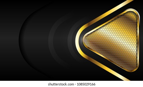 The abstract gold triangle and hexagon mesh luxury modern concept/ background vector illustration.