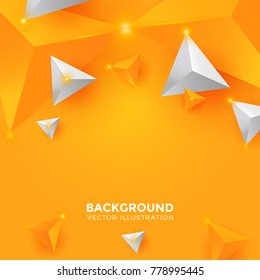 Abstract gold yellow Triangle Background. 3D Triangles. Modern Wallpaper. Vector illustration