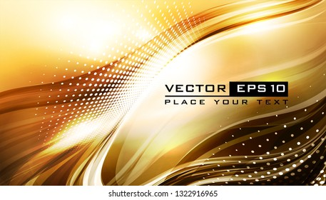 Abstract golden background with lighting effect. Futuristic design layout for presentations, posters, flyer, banner. Vector