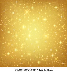 Abstract golden background with sparkling twinkling stars. Gold Cosmic atmosphere illustration