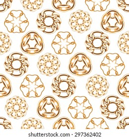 Abstract golden chains circles seamless background. Luxury jewelry pattern vector illustration.