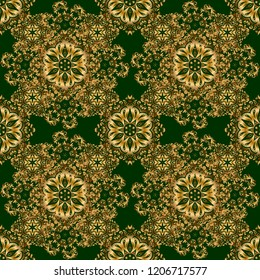 Abstract golden circle ornament on green background. Islamic oriental seamless pattern. Muslim, East ornament, Indian ornament, Persian motif. Can be used for wallpaper, banner, wrapping, wedding card