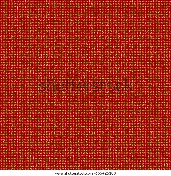 Abstract golden elements on a red background. Vector shiny metal surface seamless pattern.