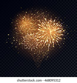 Abstract golden fireworks explosion on transparent background. New Year celebration fireworks. Holiday fireworks on dark background