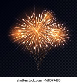 abstract golden fireworks explosion on transparent background new year celebration fireworks holiday fireworks on