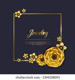 Abstract golden flowers and glitter background. Luxury jewelry pattern vector illustration.