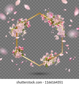 Abstract golden frame with spring flowers. Vector background with spring cherry blossom, falling petals and blurred transparent elements