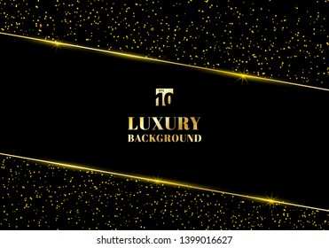 Abstract golden glitter and shiny gold frame on black background. Luxury elegant trendy style. You can use for wedding Invitation cards, packaging, banner, card, flyer, invitation, party, print