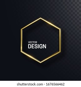 Abstract golden hexagonal shape. Vector 3d illustration. Shiny elegant hex isolated on black transparent background. Jewelry concept. Glossy frame design. Realistic metallic object. Decoration element