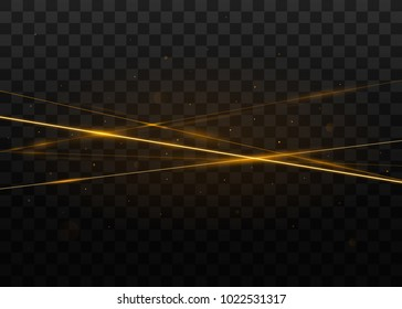 Abstract golden laser beams. Isolated on transparent black background. Vector illustration, eps 10.