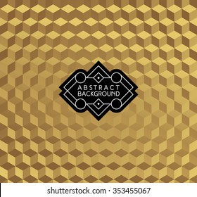 abstract golden monochrome fashion wallpaper or background with hipster label or badge for flyer poster