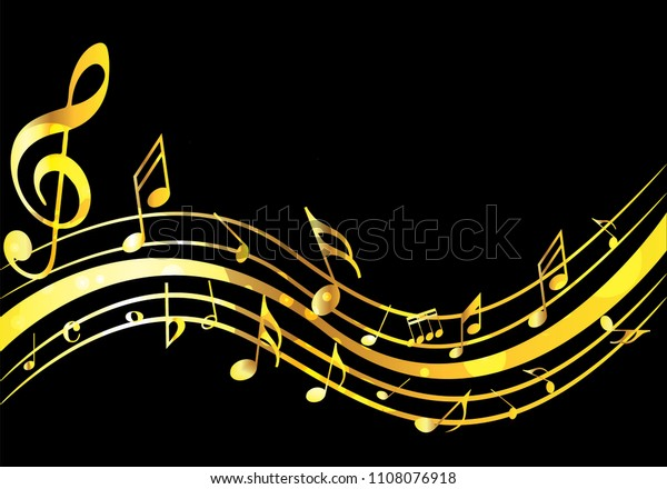 Abstract Golden Music Notes On Rainbow Stock Vector Royalty