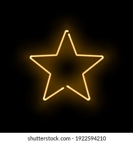 Abstract golden neon luminous star on black background. Glowing yellow discontinuous object with soft light effect. Vector illustration of shining frame, template for nightclub party design