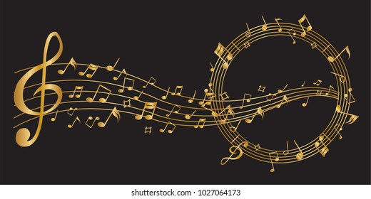 Abstract Golden notes music on a black background, vector illustration