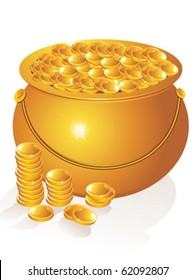 abstract golden pot with money coins vector illustration