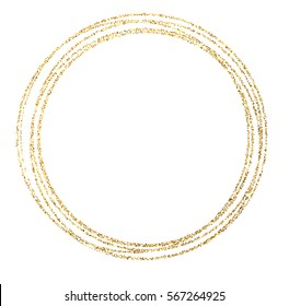 Abstract golden round frame on white background. Vector paper illustration.