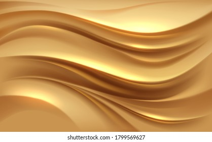 Abstract golden silk waves background