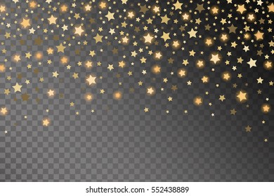 Abstract golden starfall effect pattern isolated on transparent background. Vector illustration