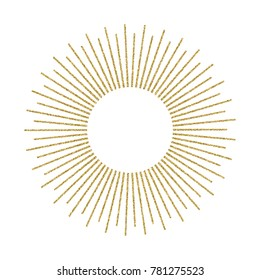 Abstract golden sunburst on white background. Vintage sun burst design element. Geometric shape, light ray. Vector illustration.