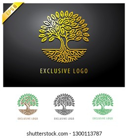 abstract golden tree logo. exclusive tree logo. leaf and tree logo. Tree and root logo vector leaf emblem badge download - Vector
