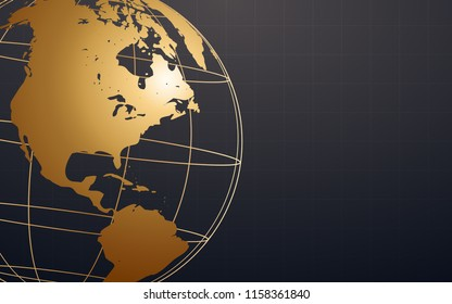 abstract golden wireframe globe on black color background